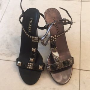 Prada cool shoes 36 black grey authentic 6 silver